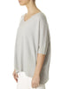 'Bonnie' Light Silver V-Neck Top With Short Rib Sleeve | Jessimara London