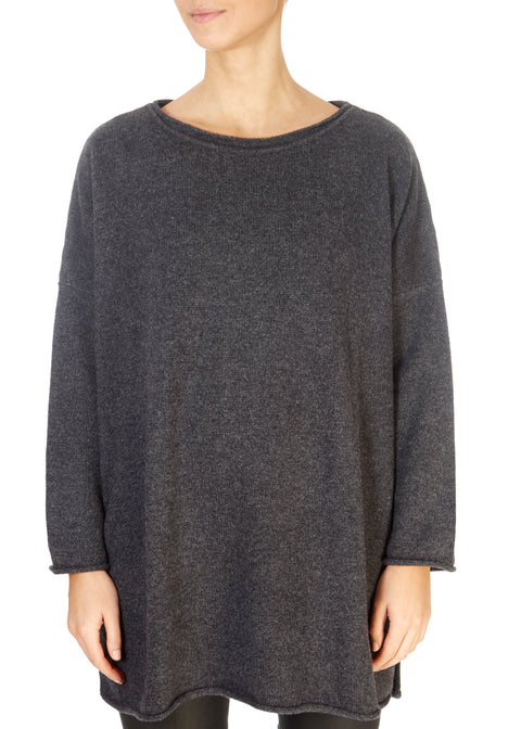 'Cersei' Graphite Grey Oversized Long Sweater | Jessimara London