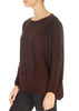 'Delta' Damson Brown Long Sleeve Merino Top | Jessimara London
