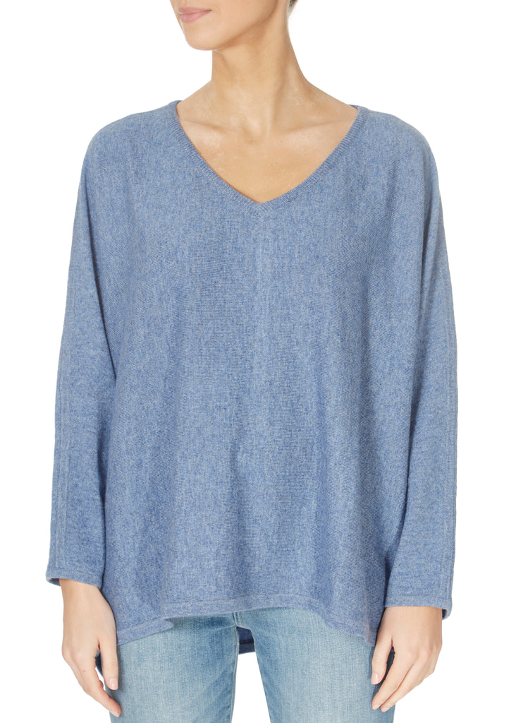 'Freda' Denim Blue V Neck Sweater | Jessimara London