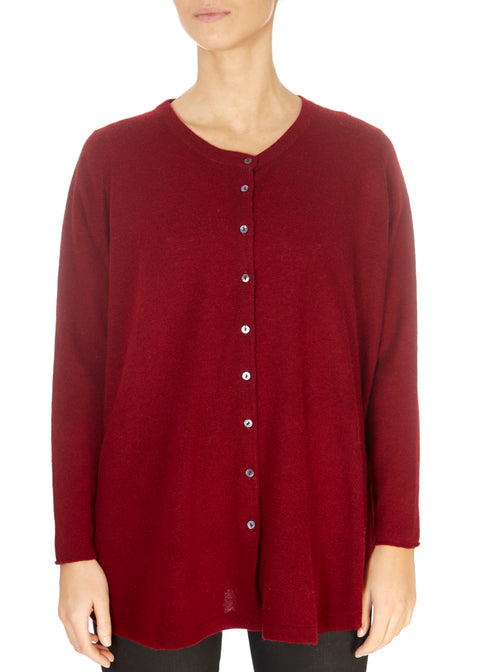 'Gillingham' Ruby Red Cashmere Cardigan | Jessimara London