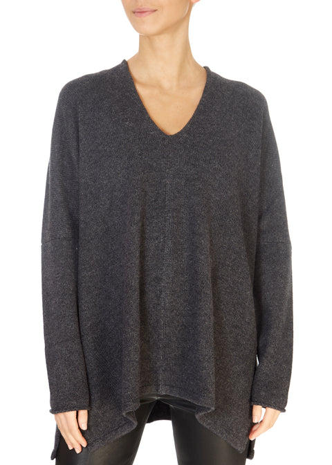 Graphite Grey Oversized Cashmere Sweater | Jessimara London