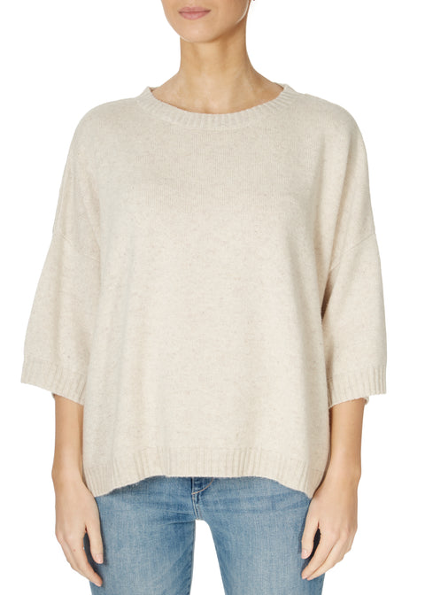 'Paris' Dove Cream 3/4 Sleeve Jumper