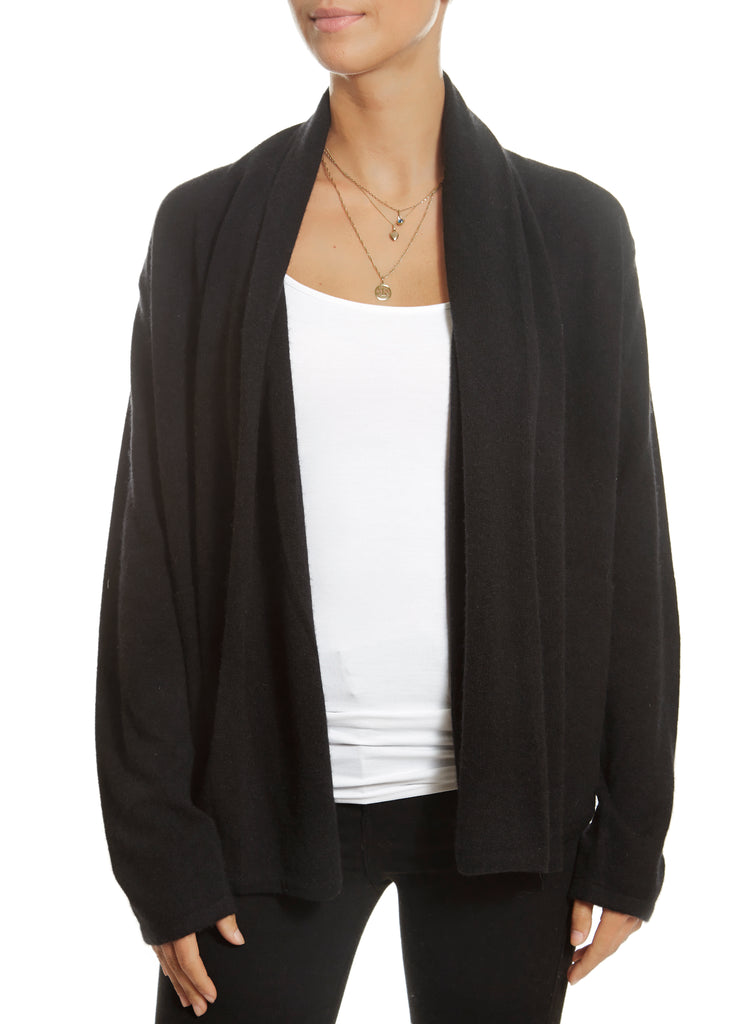 'Phoebe' Black Cashmere Cardigan with Pockets