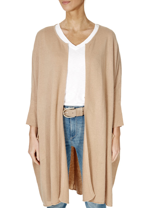 'Rosalie' Almond Knee Length Cardigan