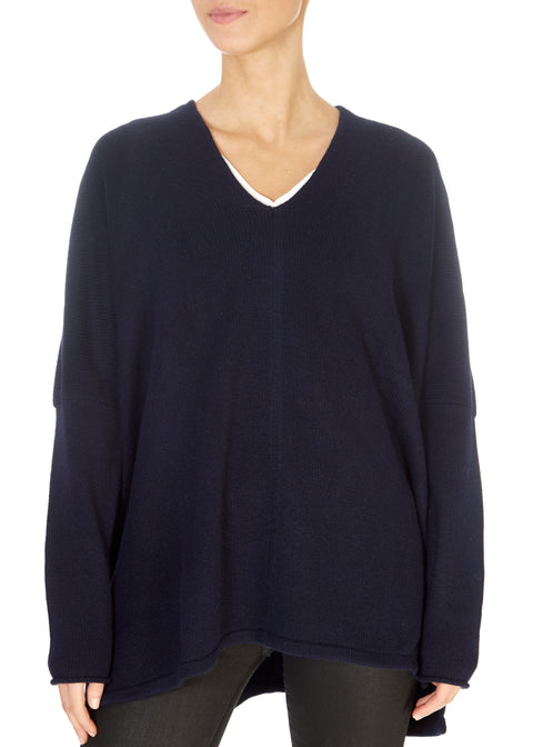 Navy Oversized Cashmere Sweater | Jessimara London