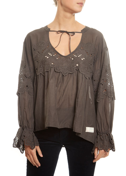 'Flying With Love' Stormy Grey Blouse - Jessimara