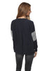 Jessimara 'Ottowa' Navy/ Silver Marl Cotton Colour Block Sleeve Jumper | Jessimara London