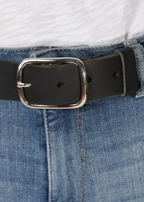 'Benay' Black Belt With Silver Buckle | Jessimara London