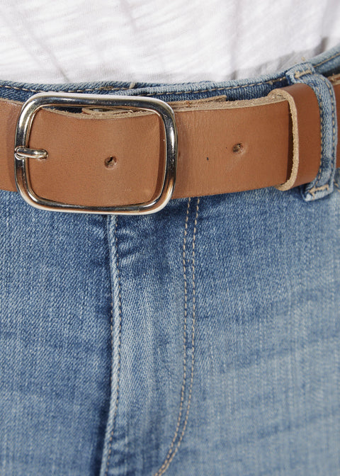 'Benay' Brown Belt With Silver Buckle | Jessimara London