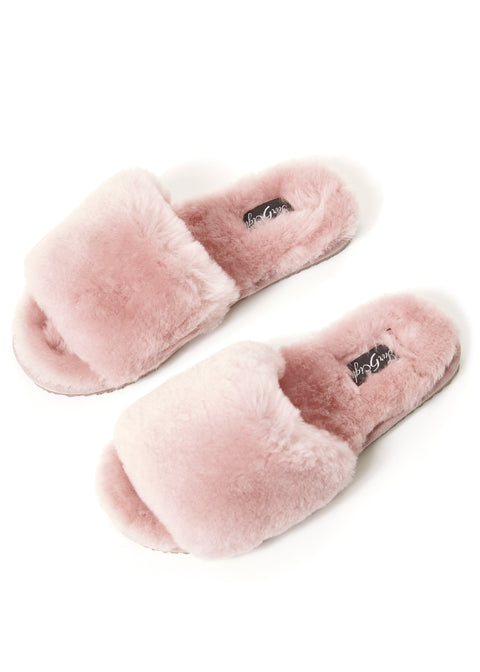 Deep Classic Pink Luxury Sheepskin Slipper Slides | Jessimara London