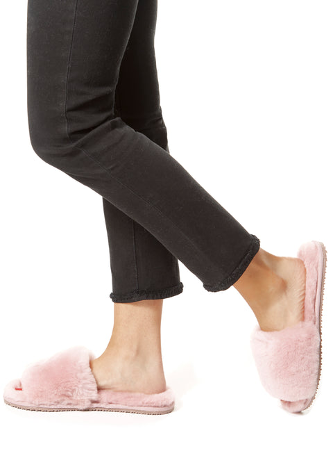 Deep Classic Pink Luxury Sheepskin Slides