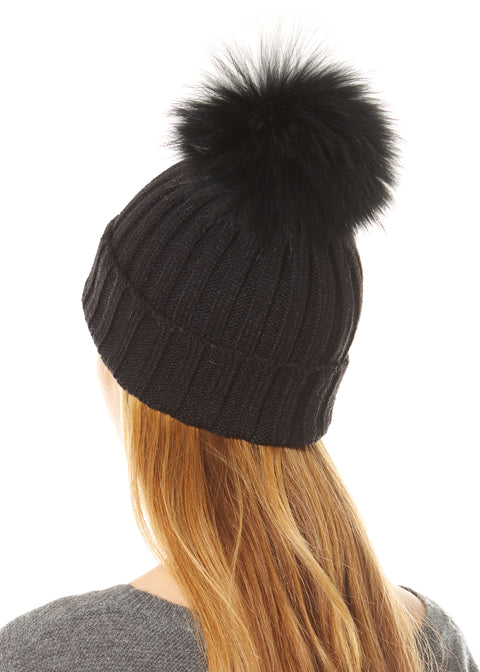 Black on Black Pom Beanie | Jessimara London