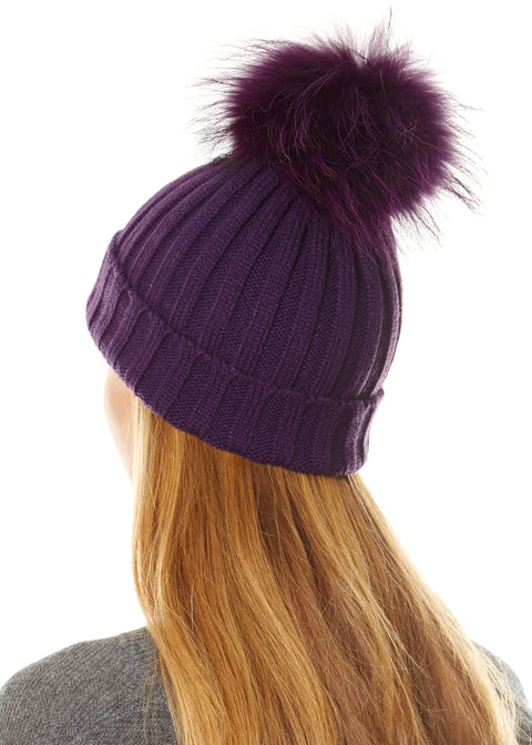 Purple On Purple Knitted Pom Beanie