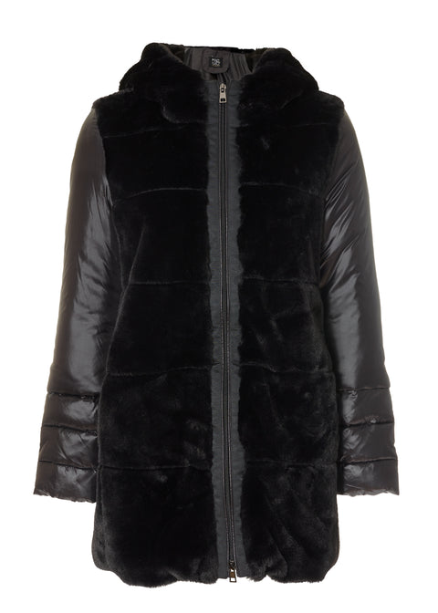 Black Puffer Coat with Hood