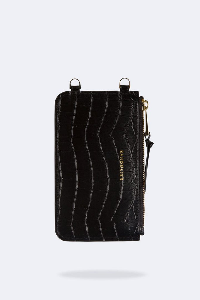 'Emma' Black Croc/Gold Leather Zip Pouch | Jessimara London