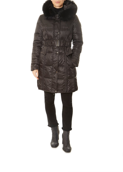 Long Black Down Belted Puffer Coat