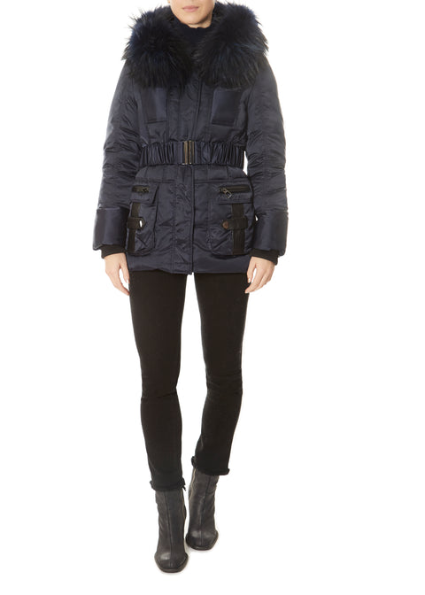 Short Navy Down Belted Puffer Coat | Jessimara London