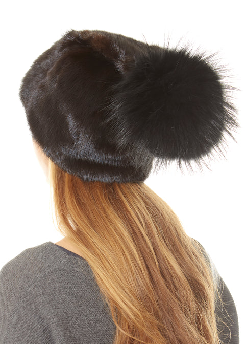 Brown Mink Beanie With Black Rabbit Pom