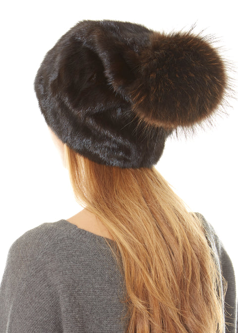 Brown Mink Beanie With Brown Rabbit Pom