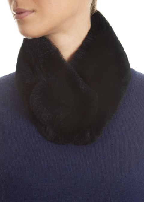 Black Magnetic Real Rex Rabbit Bobble Scarf | Jessimara London