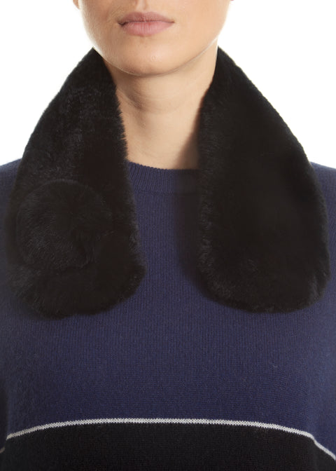 Black Magnetic Real Rex Rabbit Bobble Scarf