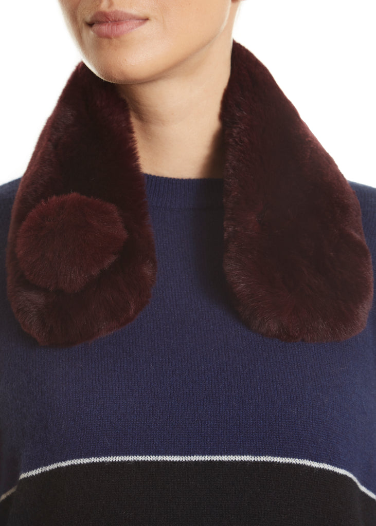 Burgundy Magnetic Real Rex Rabbit Bobble Scarf