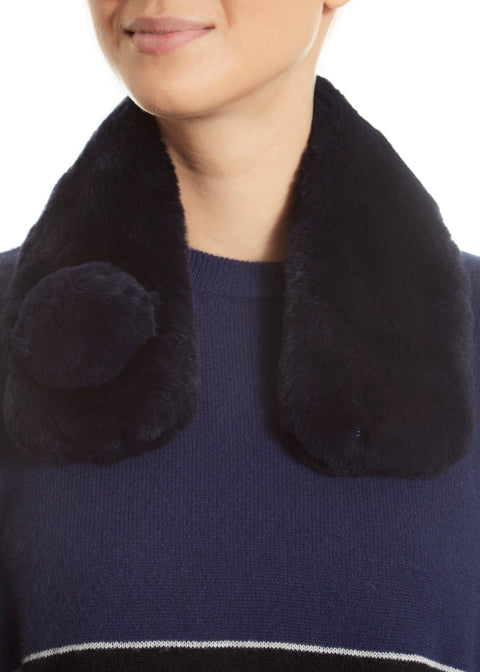 Navy Magnetic Real Rex Rabbit Bobble Scarf