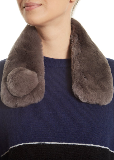 Taupe Grey Real Rex Rabbit Magnetic Bobble Scarf | Jessimara London