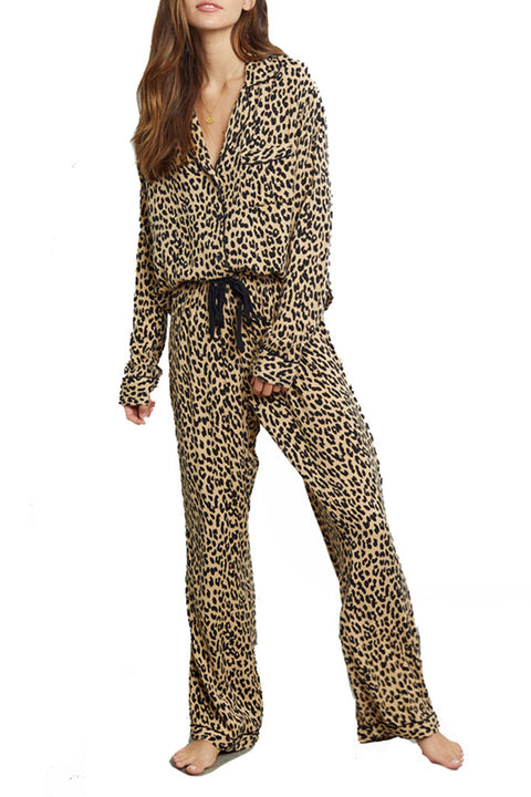 'Clara' Sand Jaguar Long Sleeve Pyjama Set