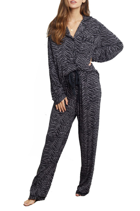 'Clara' Charcoal Tiger Stripe Long Sleeve Pyjama Set