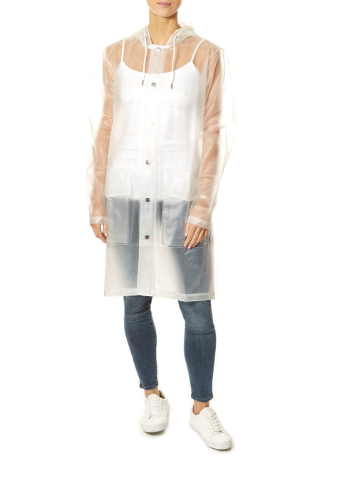 Foggy White Hooded Rain Coat