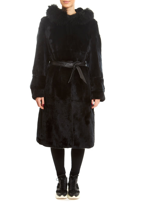 Long Black Rex Hooded Coat