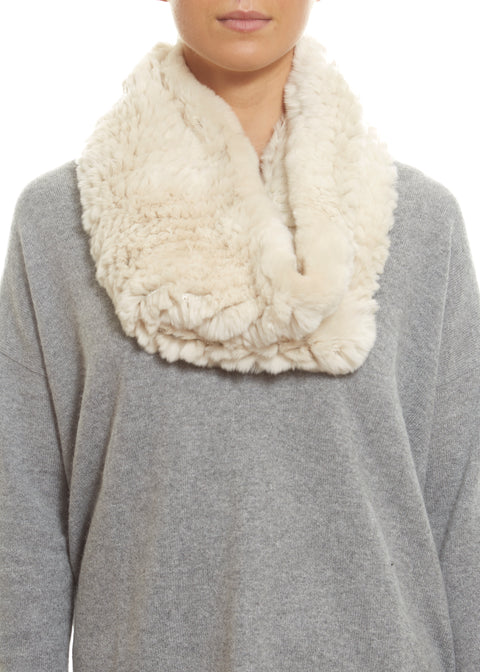 Cream Real Rex Rabbit Fur Snood - Jessimara