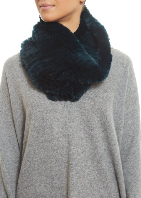 Dark Teal Real Rex Rabbit Fur Snood | Jessimara London