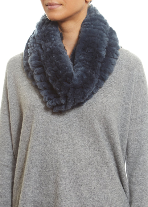Denim Blue Real Rex Rabbit Fur Snood