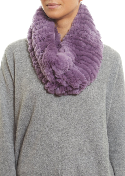 Lilac Real Rex Rabbit Fur Snood | Jessimara London