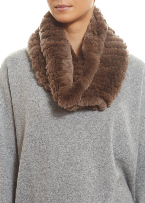 Taupe Real Rex Rabbit Fur Snood | Jessimara London