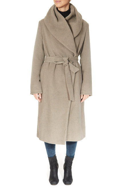 'Milon' Taupe Long Wool Coat