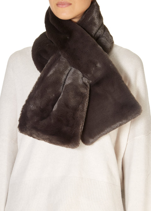 Deep Grey Faux Fur Loop Scarf