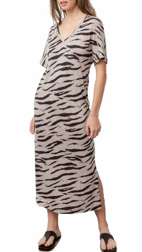 'Ren' Tiger Print Midi Dress