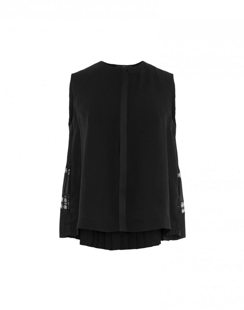 'Concertina' Black Sleeveless Shirt