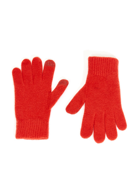 Red Mens Wool and Cashmere Mix Gloves