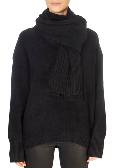 Black Ribbed Open Scarf | Jessimara London