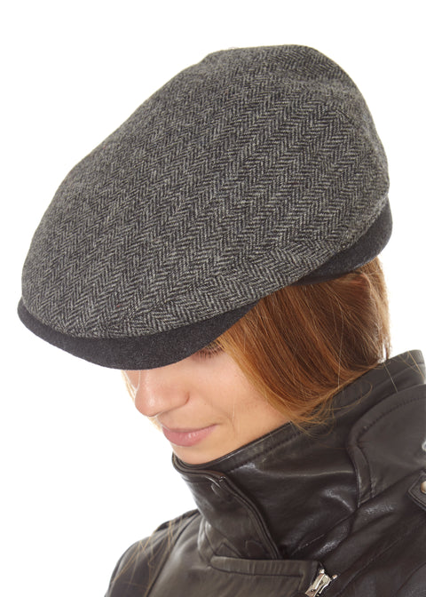 Grey Tweed Baker Boy Hat | Jessimara London