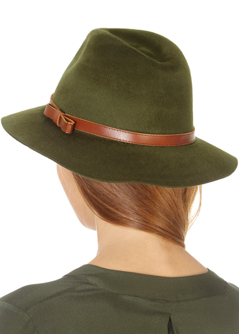 Khaki Green Trilby Hat | Jessimara London
