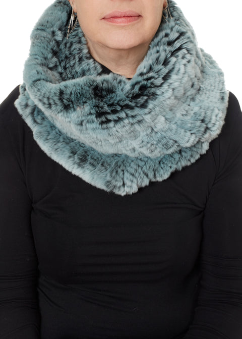 Light Teal Snowtop Knitted Real Rex Rabbit Fur Single Snood Scarf