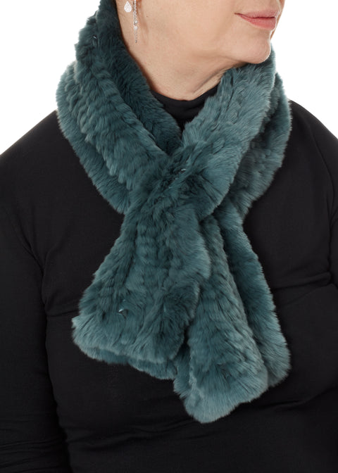 Teal Knitted Rex Rabbit 'Loop' Designer Fur Scarf