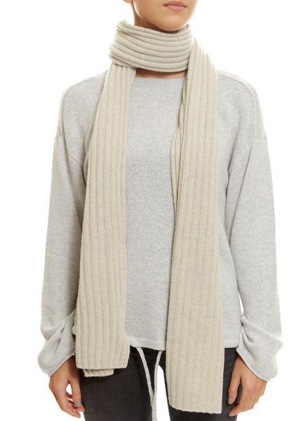 Beige Lined Ribbed Scarf