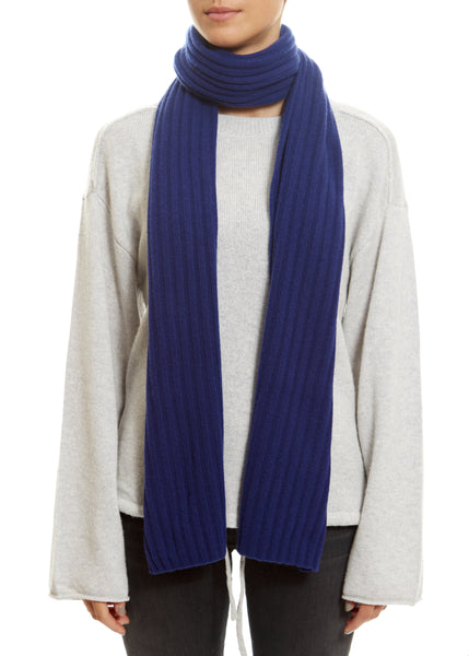 Blue Lined Ribbed Scarf